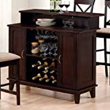 Coaster Contemporary Style Solid Wood Bar Unit with Wine Rack, Deep Cappucc ....