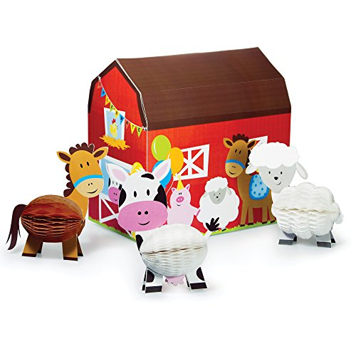 Creative Converting Farmhouse Fun Centerpiece with 3D Barn & Honeycomb Animals (4 Piece)
