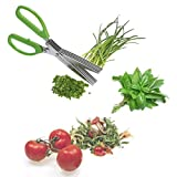 Westmark Germany Stainless Steel 5 Blade Herb Scissors With Lime Green Handle And Cleaning Comb