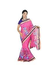 ABSTRA Women's Baby Pink Cotton Shakuntala Printed Saree With Golden Paar Handloom Bengal Tant