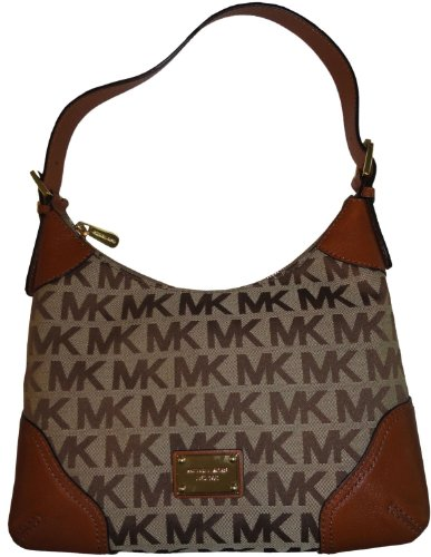 Women's Michael Kors Purse Handbag Millbrook Medium Shoulder Bag Beige/Ebony/Luggage