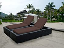 Hot Sale ohana collection PN7023Brn Genuine Ohana Outdoor Patio Wicker Furniture 2-Piece Chaise Lounge Set, Brown