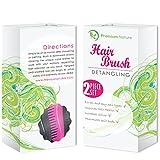 Detangling Hair Brush Set of 2, Best Detangler Comb, No Pain, Black & Pink by Premium Nature