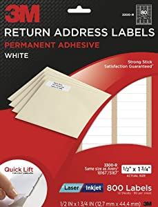 3m return address labels white 1 2 inch x 1 3 4 inch 10 sheets per pack 3300 r. Black Bedroom Furniture Sets. Home Design Ideas