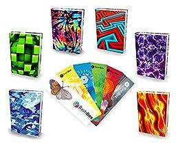 BashBox Book Sox Stretchable Jumbo Fabric Boys Book Covers Includes Blue Camo, Cube, Tye Dye, Maze, Purple Lightning & Fireball Designs & 6 Exclusive Bookmarks - 12 Item Bundle