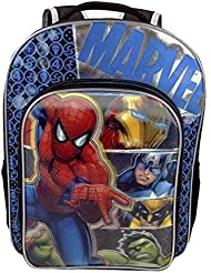 "Marvel Avengers Age Of Ultron Backpack 16"" Full-Size With Spiderman, Iron Man, Captain America, Wolverine & Hulk"