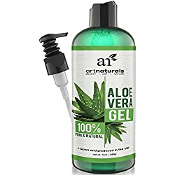 ArtNaturals Aloe Vera Gel for Face, Hair & Body - Certified Organic, 100% Pure Natural & Cold Pressed 12 Oz - For Sun Burn, Eczema, Bug or Insect Bites, Dry Damaged Aging skin, Razor Bumps and Acne