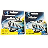 Gillette Mach3 Turbo 8 + 2 = 10 blades Brand New Blades / Cartridges 100% Genuine Product - 8+2 blades in pack