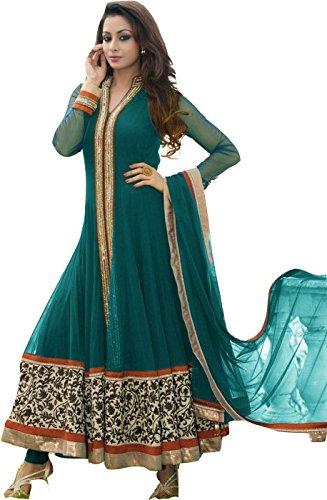 Green Designer Net Long Anarkali Suits