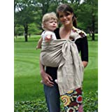 Snuggy Baby Linen Banded Ring Sling Baby Carrier in Espresso Blossom ~ Snuggy Baby