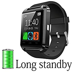 A8 POWER U8 Bluetooth Watch Smart WristWatch Phone Mate for Smartphones Android Samsung S2/S3/S4/S5/Note 2/Note 3 HTC (Black)