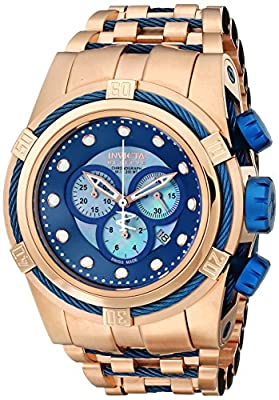 Invicta Men's 12745 Bolt Reserve Chronograph Blue Mother-Of-Pearl Dial 18k Rose Gold Ion-Plated Stainless Steel Watch