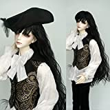 9-10 Inch 1/3 SD BJD High Temperature Synthetic Fiber Boy Man Long Black Curly with Full Bangs Hair Wig BJD Doll Wigs for 1/3 1/4 1/6 BJD SD Doll (1B) (Color: 1b)