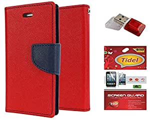 Tidel Premium Table Talk Fancy Diary Wallet Flip Cover Case for Microsoft Lumia 540 (Red) With Tidel Screen Guard & Card Readar
