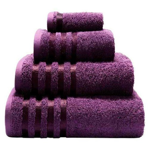 Egyptian Cotton Viscose Border 550gsm 4 Piece Guest Towel Set, Aubergine