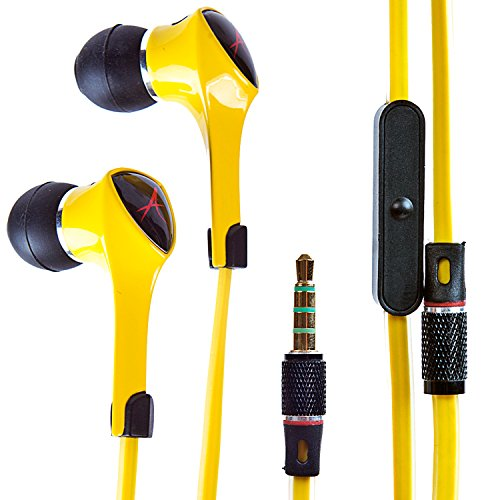 Alpatronix Ex120 In-Ear Headphones With Universal Mic/Control For Smartphones (Yellow)
