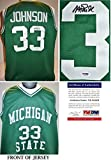 Magic Johnson Signed - Autographed Michigan State Spartans MSU Green Custom Jersey - PSA/DNA Certificate of Authenticity (COA) - Ervin Johnson