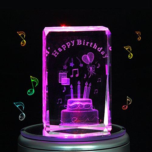 liwuyou graver cristal 3D gâteau d'anniversaire Boîte À Musique LED colorées rotatif, Cristal, Small cake, MP3 base