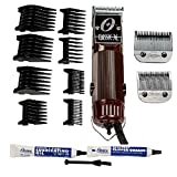OSTER Classic 76 Hair Clipper Bundle - 2 items, includes pack of 8 plastic comb blades (Color: Brown Bundle)