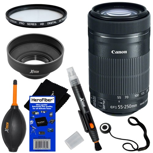 "Canon Ef-S 55-250Mm F/4-5.6 Is ""Stm"" Telephoto Zoom Lens For Canon Eos 7D, 60D, 60Da, 70D, Eos Rebel Sl1, T1I, T2I, T3, T3I, T4I, T5I, Xs, Xsi, Xt, & Xti Digital Slr Cameras + 6Pc Bundle Accessory Kit W/ Herofiber® Ultra Gentle Cleaning Cloth"