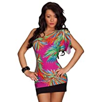 Amour- Valentine's Day Sexy One Shoulder Floral Printed Mini Clubbing Dress Clubwear Gogo Dance