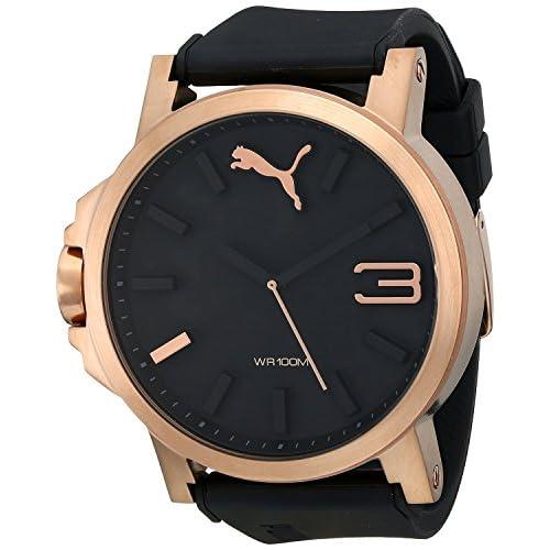 [プーマ] PUMA 腕時計 Men's Ultrasize 50 Rose Gold Analog Display Japanese Quartz Black Watch 日本製クォーツ PU102941005 メンズ [バンド調節工具&高級セーム革セット]【並行輸入品】