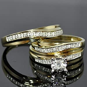 Real Diamond Trio Wedding Set Mens Women Ring .25ct 10k Yellow Gold