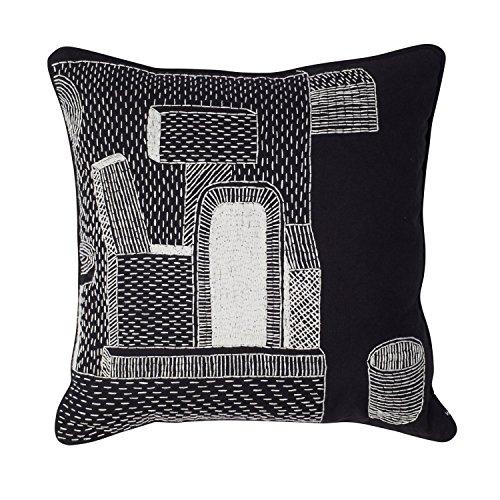 WRONG FOR HAY Kissen Embroidered Glas, schwarz-weiß One and a Glas bestickt mit Federfüllung 50x50cm
