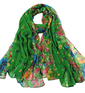 Promithi Lady Womens Colorful Floral Long Scarf Wraps Shawl Stole Soft Scarves (green)