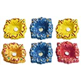 DollsofIndia Set Of Six Hand Painted Colorful Square Diyas - Terracotta