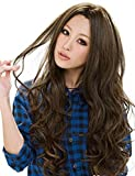 Rise World Wig Women's Long Curly Wavy Brown Party Heat Friendly Cosplay Full Hair Wig Christmas
