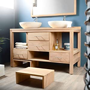waschtisch aus massivem teak holz badunterschrank badm bel. Black Bedroom Furniture Sets. Home Design Ideas