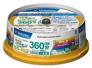三菱化学メディア Verbatim BD-R DL 2層式 (ハードコート仕様) 1回録画用 50GB 1-4倍速 スピンドルケース 20枚パック ワイド印刷対応 ホワイトレーベル VBR260YP20SV1
