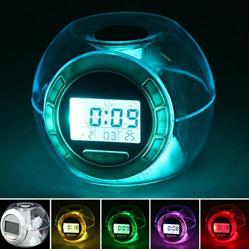 7-color Changing Lights Nature Sounds LED Digital Alarm Snooze Clock with Thermometer & Timer FLD-80707