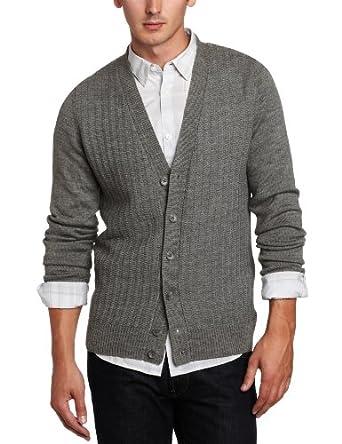 (史低)卡尔文Calvin Klein Men's Links Stitched Cardigan美利奴羊毛开襟衫,$53.30