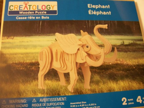 Creatology Wooden Puzzle ~ Elephant (4 Sheets, 2 Eyes) - 1
