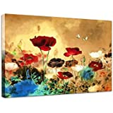 Wieco Art Canvas Print Blooming Poppies paintings Modern Canvas Wall Art for Wall Decor and Home Decoration