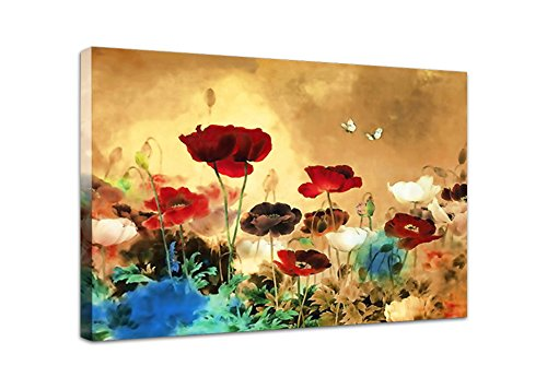 wieco art canvas print blooming poppies modern canvas wall art for