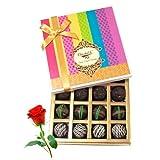 Valentine Chocholik's Belgium Chocolates - Appetizing Truffle Collection With Red Rose