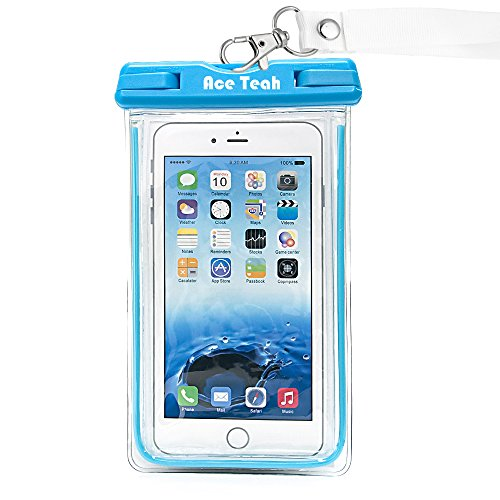 Waterproof Iphone 6 Case, Waterproof Pouch, Ace Teah Clear Waterproof Bag with Touch Responsive Transparent Screen Protector for iPhone 6S 6 Plus, 5S SE, Samsung Galaxy S7 S6 edge, Note 5 4 3 - Blue (Iphone 4 Lifeproof Case Blue compare prices)