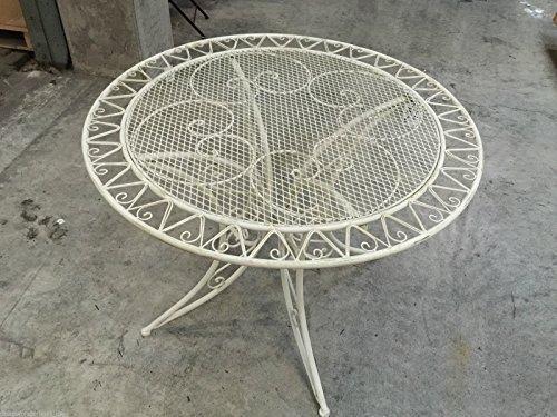 Gartenmöbel Weiß Tisch Schmiedeisen Gartentisch Bistrotisch Antik DM 1 Meter günstig