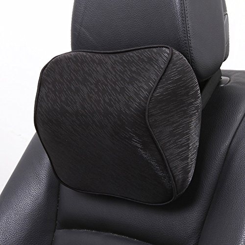 HaloVa Car Neck Pillow Premium Memory Foam Car headrest, Universal Car Seat Head Pillow With Adjustable Elastic Strap for Car, Travel, Office, Home, Black
