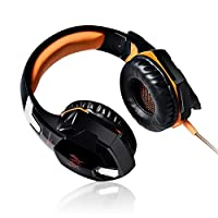 [Latest Version Gaming Headset For PS4] VersionTech KOTION EACH G2000 USB 3.5mm Game Gaming Headphone Headset Earphone Headband with Mic Stereo Bass LED Light for PS4 PC Computer Laptop Mobile Phones - Orange