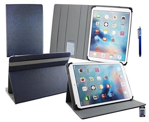 Emartbuy® HP Elite x2 1011 G1 Tablet 11.6 Pollice Universale ( 11 - 12.5 Pollice ) Dark Blu Alta Qualità PU Pelle Angolo Multi Esecutivo Wallet Portafoglio Custodia Case Cover Grigio Interno con Scomparti per Carte di Credito + Blu Stilo