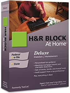 H&R Block At Home 2009 Deluxe Federal + State + eFile [OLD VERSION]