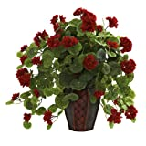 Nearly Natural 6777 Geranium with Decorative Planter, Green/Red