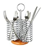 3 Compartment Chrome Finish Utensil Holder / Flatware Organizer Caddy with Bamboo Base