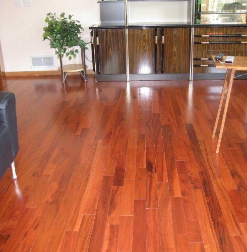 Brazilian tiger teak curupay solid prefinished hardwood for Real solid wood flooring