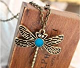 Retro Fashion Beautiful Bromzed Hollow Dragonfly Necklace Party