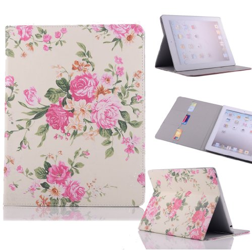 Easygoby Chrysanthemum Flower Stylish Printed ipad 2 3 4 Flip Case with Stand & Card slot Smart Cover Pouch for Apple ipad 2/ipad 3/ipad 4